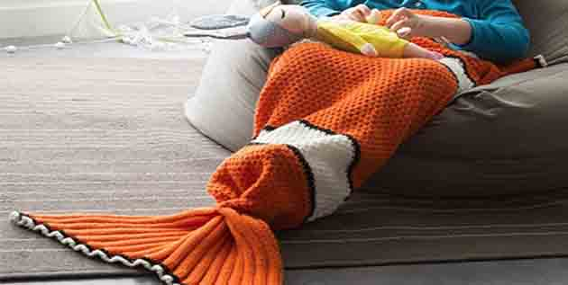 Kids Fish Tail Knitted Blanket