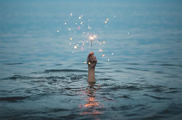 Sparkler in the ocean
