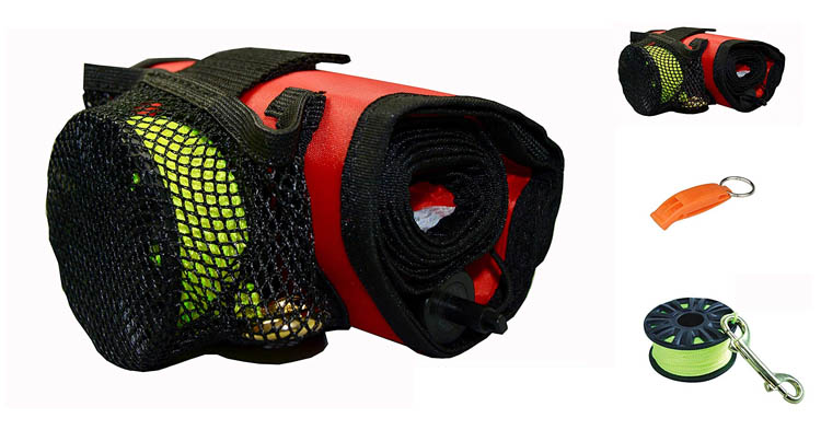 DiveSmart Surface Marker Buoy, Whistle, Strobe, ABS Reel Pouch & Flashlight Holder