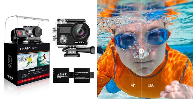 AKASO Brave 4 4K 20MP WiFi Action Camera Ultra HD with EIS 30m Underwater Camera