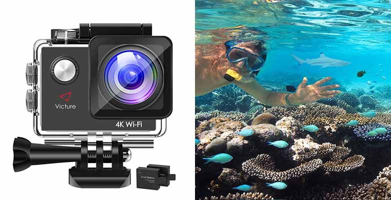Victure Action Camera 4K WiFi 16MP 98Feet Waterproof Underwater Camera