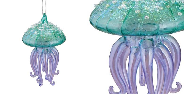 GALLERIE II Glass Glitter Jellyfish Ornament