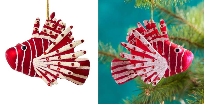 Glass Noble Gems Red Lion Fish Christmas Ornament