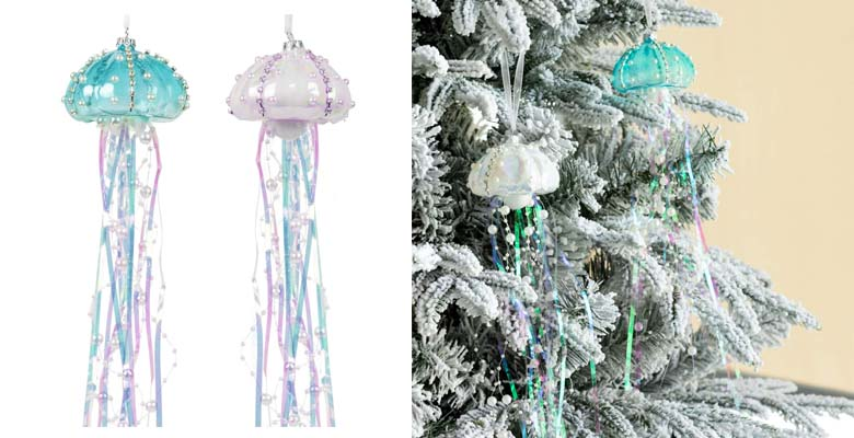 KI Store Glass Jellyfish Ornaments Christmas Tree Set of 2 Decorative Hanging Ornament Coastal Beaded Pearl and Teal
