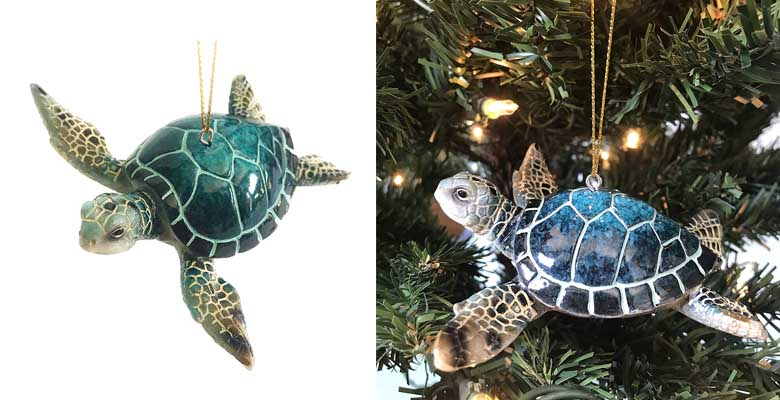 Rengöra Christmas Ornaments - Home Decor - Hand-Painted Blue Sea Turtle